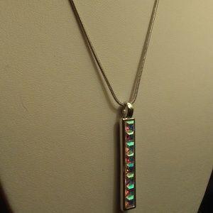 Swarovski Silver Vertical Bar Necklace